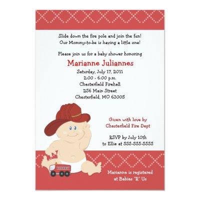 BABY FIRE FIGHTER Baby Shower Invitations