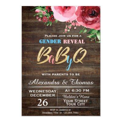 Baby Gender Reveal Baby Shower Invitations Floral