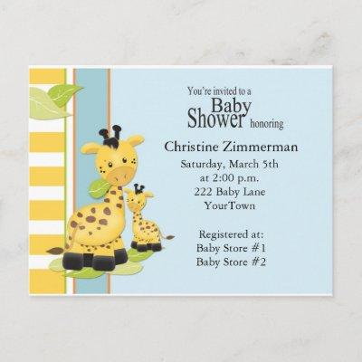 Baby Giraffe Baby Shower Invitations Postcard