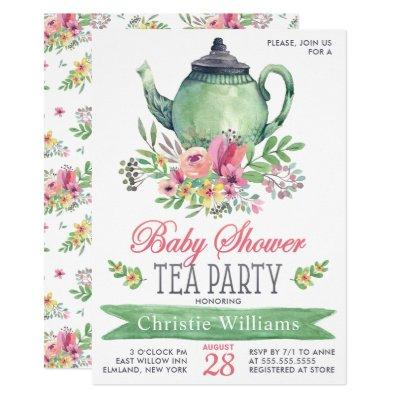 Baby Girl Baby Shower Tea Party Floral Watercolor Invitation