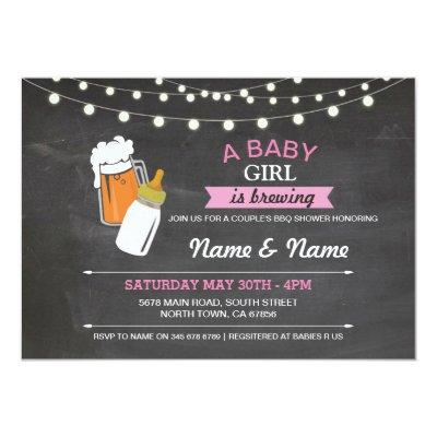Baby Girl Brewing Shower Beers Pink Chalk Invite