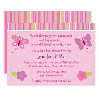 Baby Girl Butterfly Invitations
