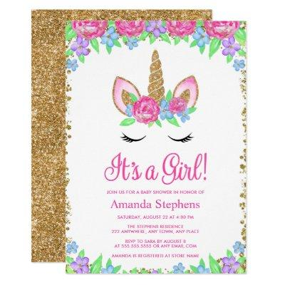 Baby Girl Floral Unicorn Gold Glitter Baby Shower Invitation