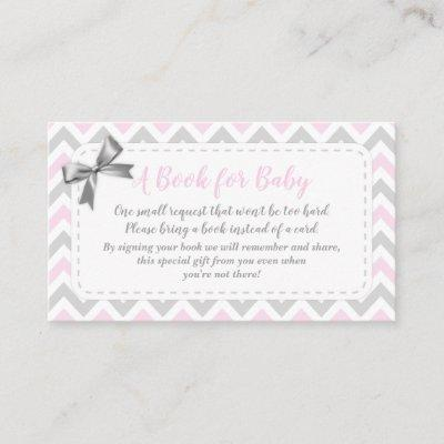 Baby Girl Gray Pink Bring A Book Card Shower
