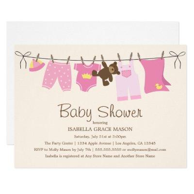 Baby Girl Laundry | Pink/Brown Invitations