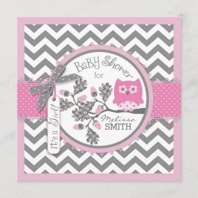 Baby Girl Owl Chevron Print Baby Shower Invitation