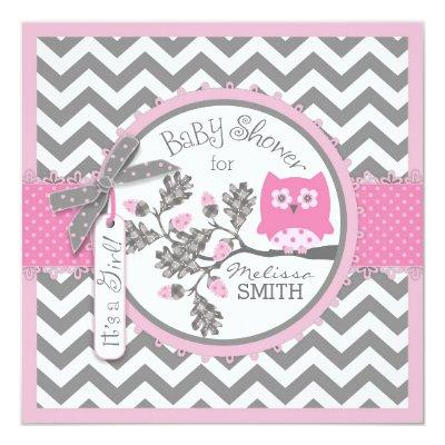 Baby Girl Owl Chevron Print Baby Shower Invitation