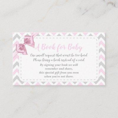 Baby Girl Pink Bow Bring A Book Card Shower