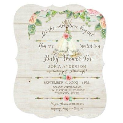 Baby Girl Shower BOHO Teepee Arrow Barn Wood Board Invitation