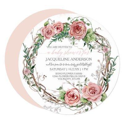 Baby Girl Shower BOHO Watercolor Flower Wreath Invitation