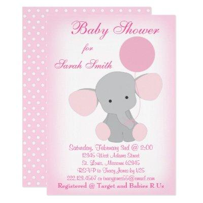 Baby Girl Shower Invitation Elephant Pink Gray