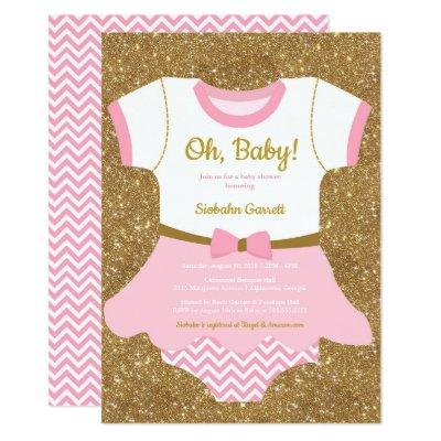 Baby girl Shower invitation, pajamas, romper Invitation
