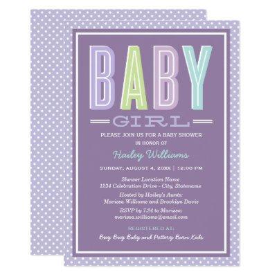 Baby Girl Shower Invitations | Purple