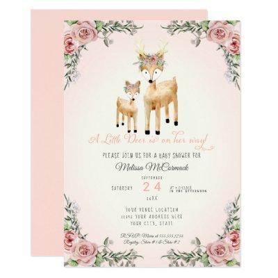 Baby Girl Shower Little Deer Antler Roses Floral Invitations