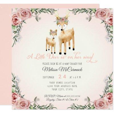 Baby Girl Shower Little Deer Antler Roses Square Invitation