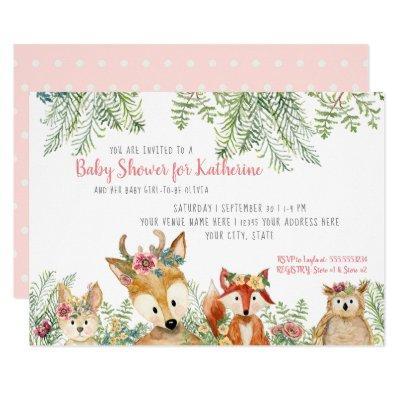 Baby Girl Shower Woodland Animals Boho Deer n Fox Invitation