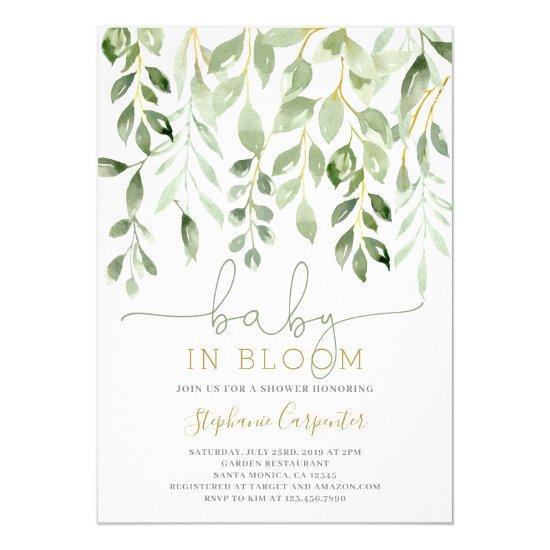 Baby in Bloom greenery boy invitation
