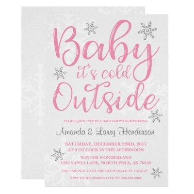 Baby It's Cold Outside Baby Shower Invite - Pink
