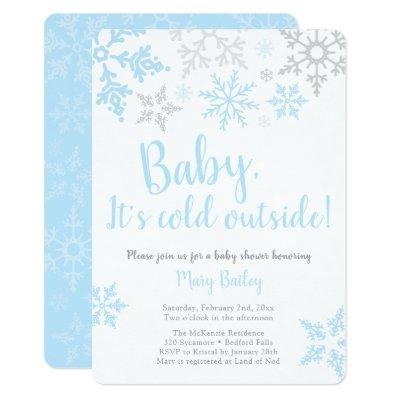Baby It's Cold Outside Blue Boy Shower Invitation