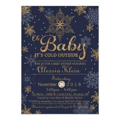 Baby It's Cold Outside, blue boy Shower Invitations