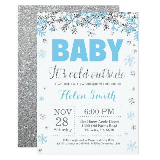 Baby its Cold Outside Blue Silver Boy Baby Shower Invitation