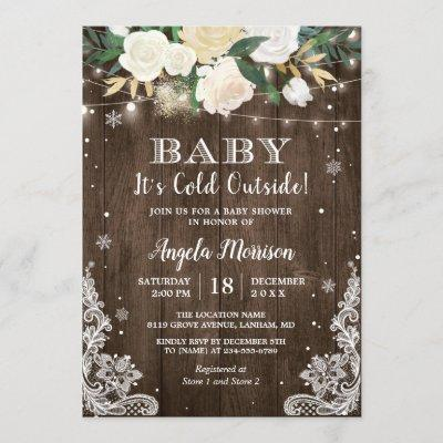 Baby Its Cold Outside Floral Rustic Baby Shower Invitation