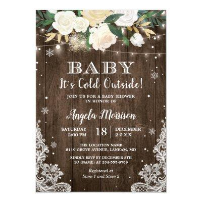 Baby Its Cold Outside Floral Rustic Baby Shower Invitations