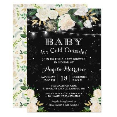 Baby It's Cold Outside Floral Winter Baby Shower Invitations