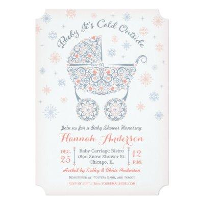 Baby It's Cold Outside, Girl Shower Invitation