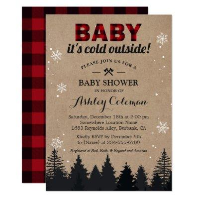 Baby Its Cold Outside Lumberjack Plaid Baby Shower Invitation