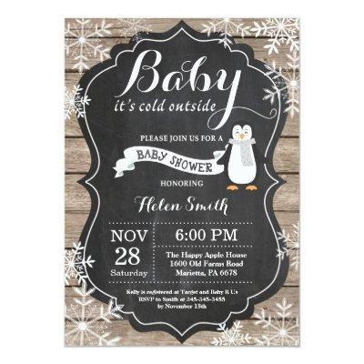 Baby its Cold Outside Penguin Baby Shower Invitations