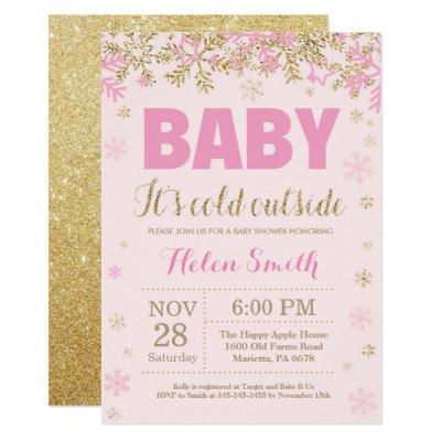 Baby its Cold Outside Pink Gold Girl Baby Shower Invitation