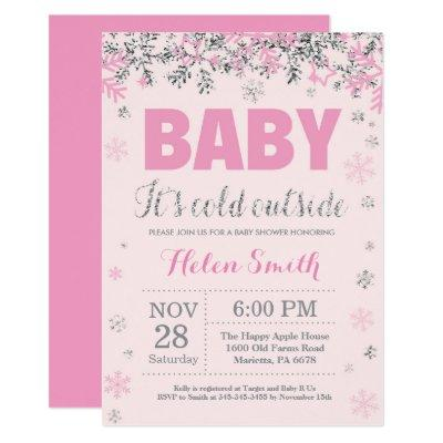 Baby its Cold Outside Pink Silver Girl Baby Shower Invitation