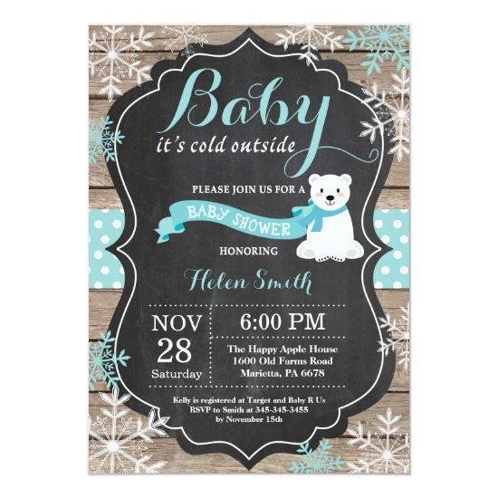 Baby its Cold Outside Polar Bear Aqua Baby Shower Invitation