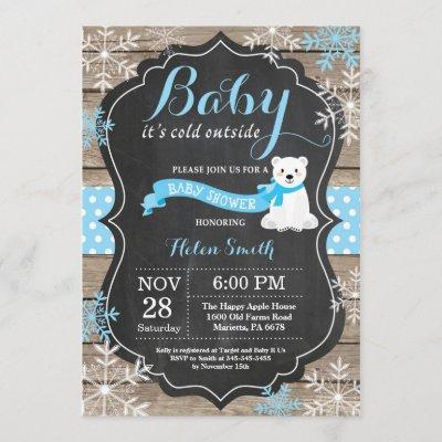 Baby its Cold Outside Polar Bear Boy Baby Shower Invitation