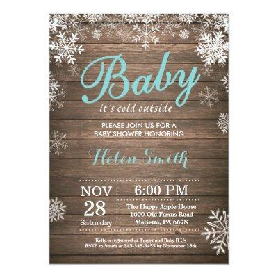 Baby its Cold Outside Rustic Winter Baby Shower Invitation