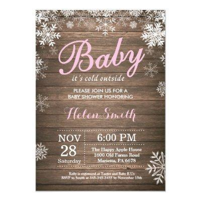 Baby its Cold Outside Rustic Winter Baby Shower Invitations