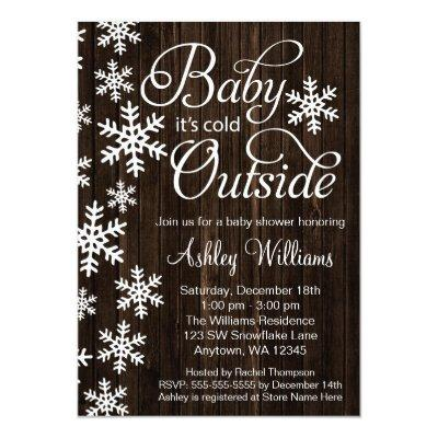 Baby It's Cold Outside Rustic Wood Baby Shower Invitations