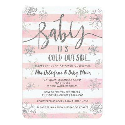 Baby It's Cold Outside Shower Invitation Girl Pink