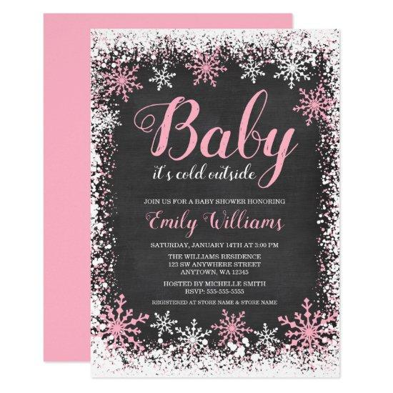 Baby Its Cold Outside Snow Winter Girl Baby Shower Card