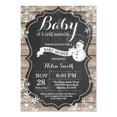 Baby its Cold Outside Snowman Baby Shower Invitations