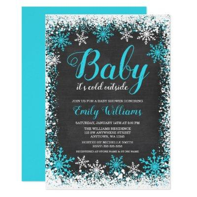 Baby Its Cold Outside Teal Snow Winter Baby Shower Invitation