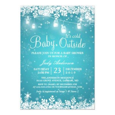 Baby Its Cold Outside Turquoise Winter Invitations