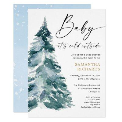 Baby its cold outside white blue boy modern shower invitation