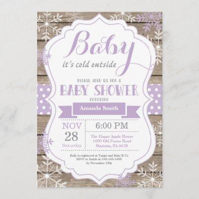 Baby Its Cold Outside Winter Baby Girl Shower Invitation
