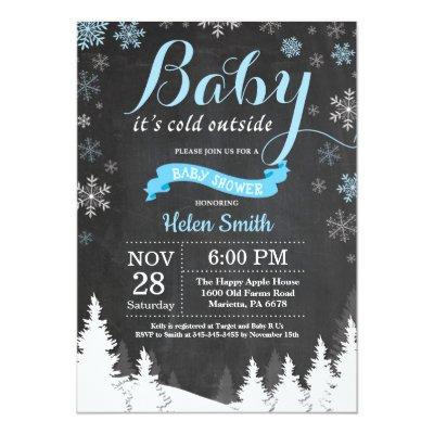 Baby its Cold Outside Winter Blue Boy Baby Shower Invitation