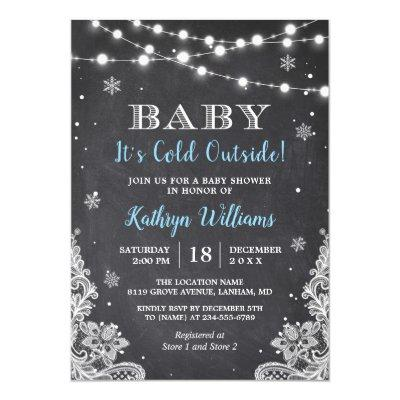Baby It's Cold Outside Winter Boy Baby Shower Invitation