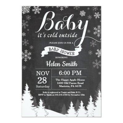 Baby its Cold Outside Winter Forest Baby Shower Invitation
