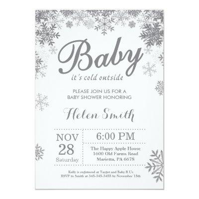 White Snow Baby Shower Invitations Baby Shower Invitations
