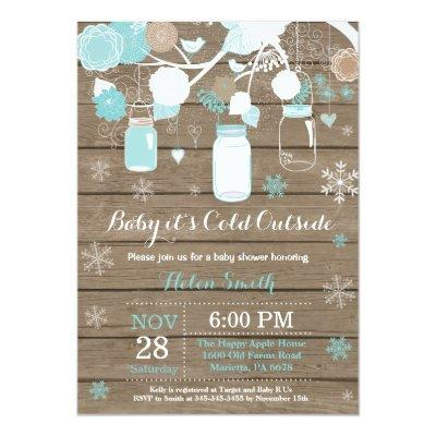 Baby its Cold Outside Winter Mason Jar Baby Shower Invitation